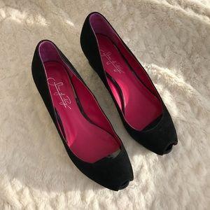 Shoes of Prey Black Suede Platform Wedges